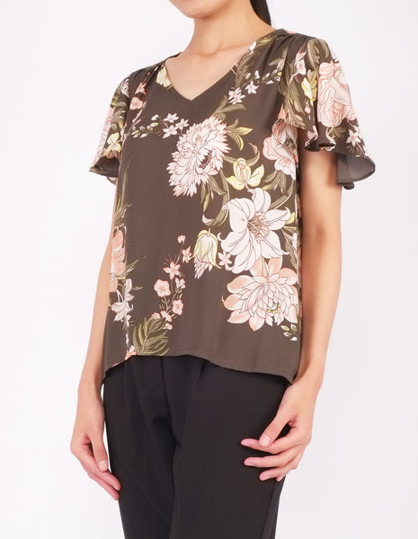 Amberly Wide Sleeves Top (Olive Floral)