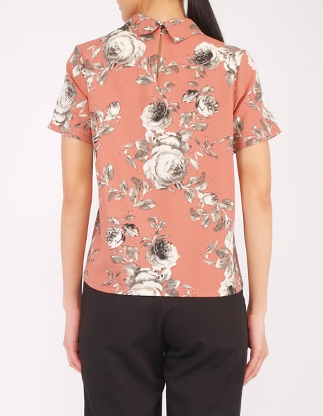 Becky Mock Neck Top (Clay Floral)