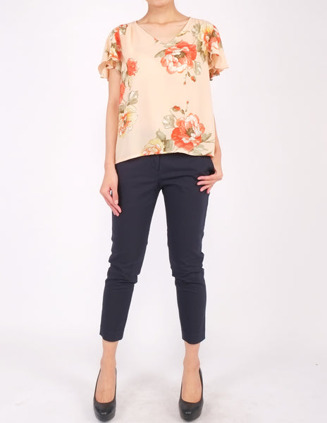 Amberly Wide Sleeves Top (Peach Floral)