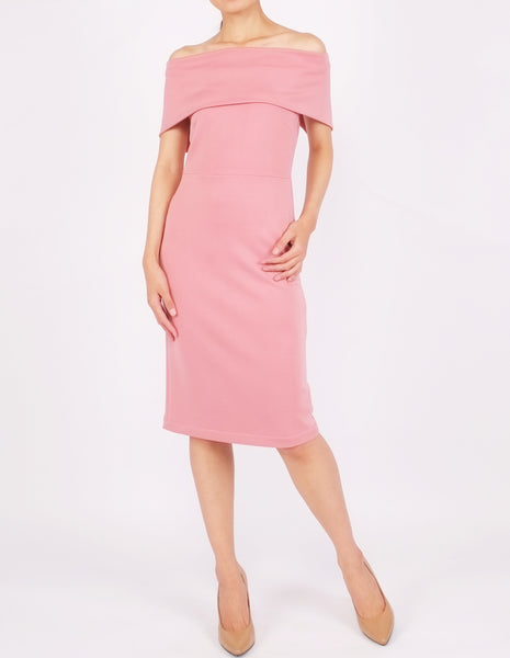 Evita Off-Shoulder Bodycon Dress (Pink)