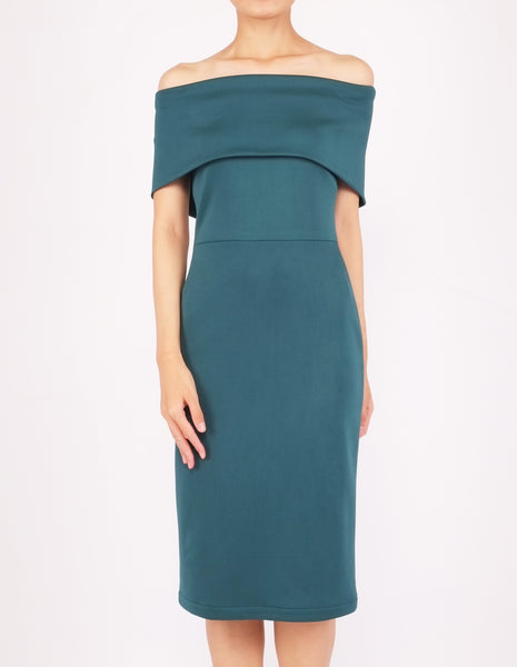 Evita Off-Shoulder Midi Dress (Green)