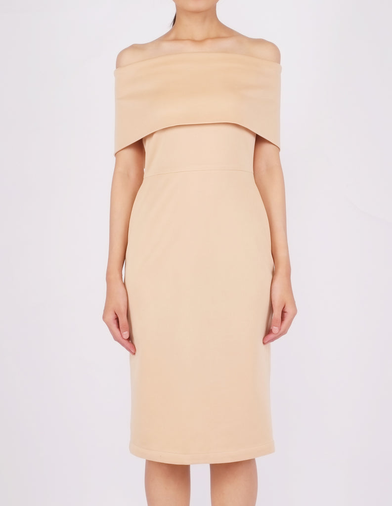 Evita Off-Shoulder Midi Dress (Beige)