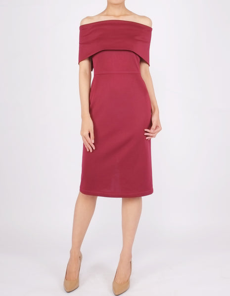 Evita Off-Shoulder Bodycon Dress (Maroon)