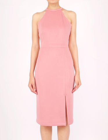 Helga Halter Midi Dress (Pink)