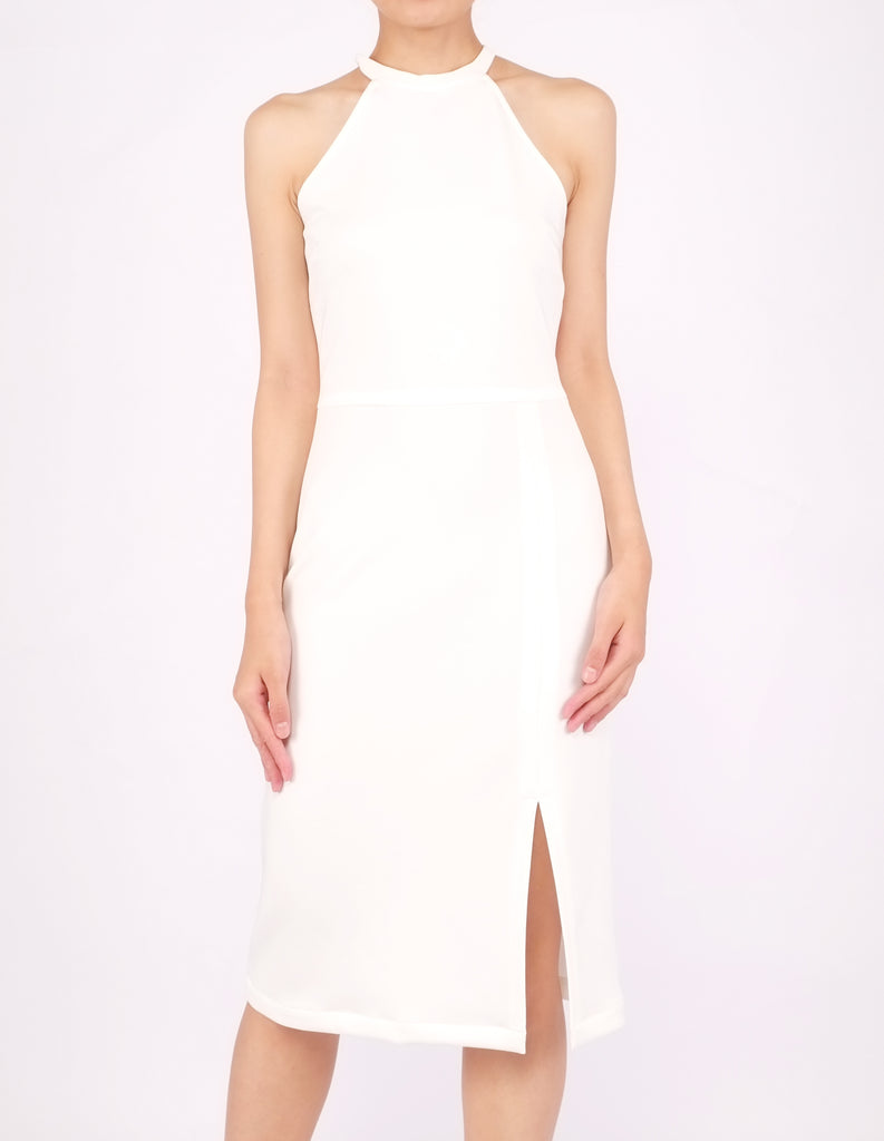 Helga Halter Midi Dress (Ivory)