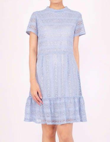 Elba Ruffle Hem Dress (Light Blue)