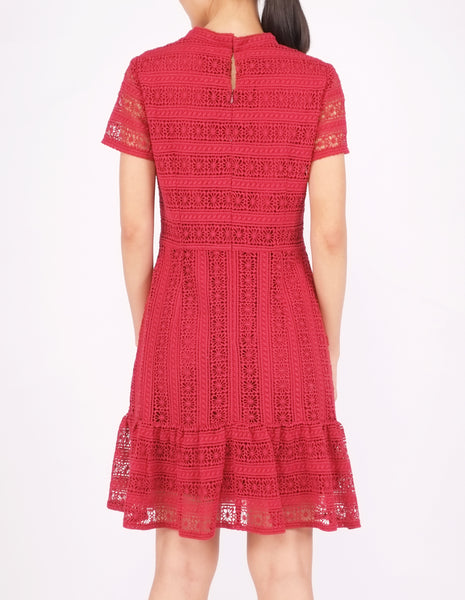 Elba Ruffle Hem Dress (Maroon)