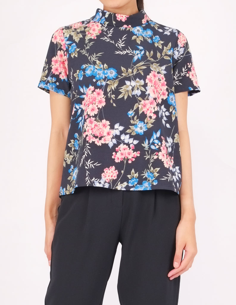 Becky Mock Neck Top (Blue Floral)