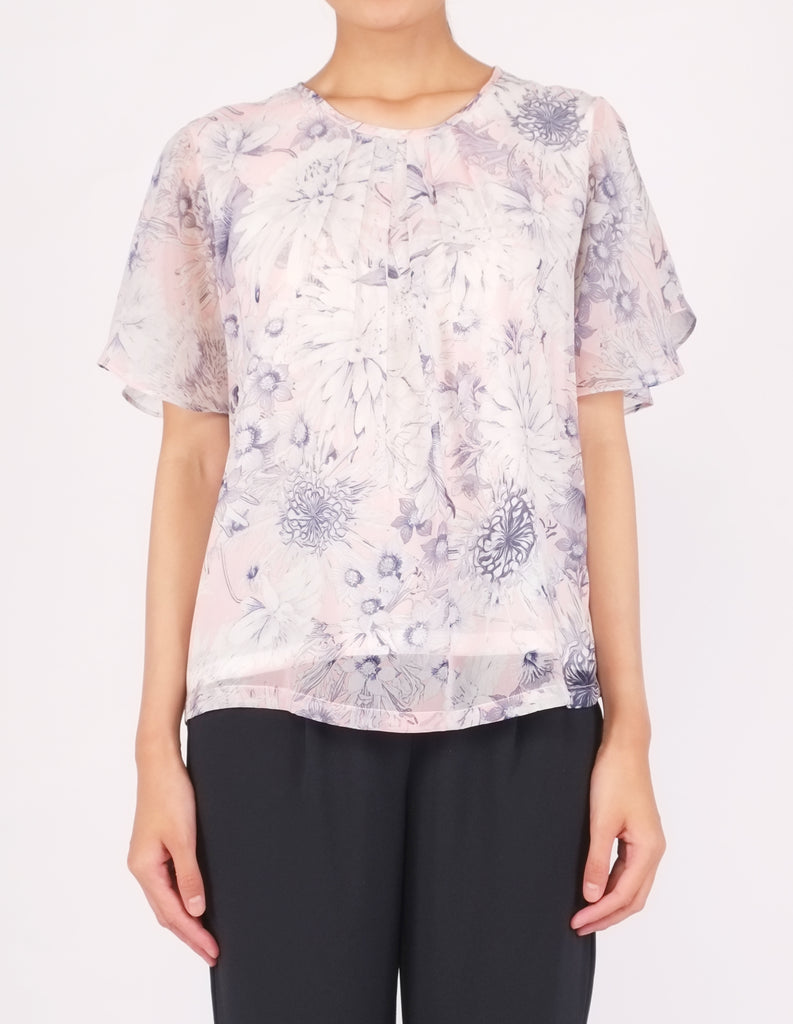 Bess Butterfly Sleeves Top (Pink Floral)