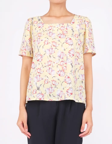 Beatriz Square Neck Top (Yellow Floral)