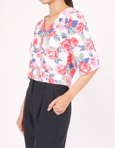 Bo Wrap Front Top (White Floral)
