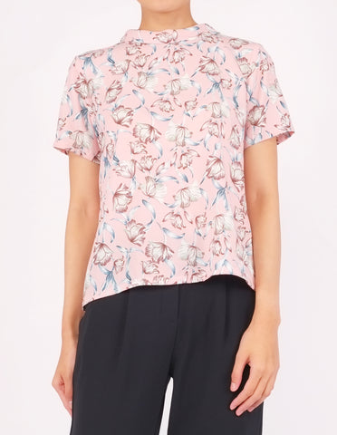 Becca Mock Neck Top (Pink Floral)