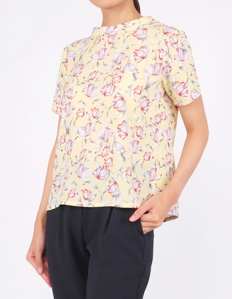 Becca Mock Neck Top (Yellow Floral)