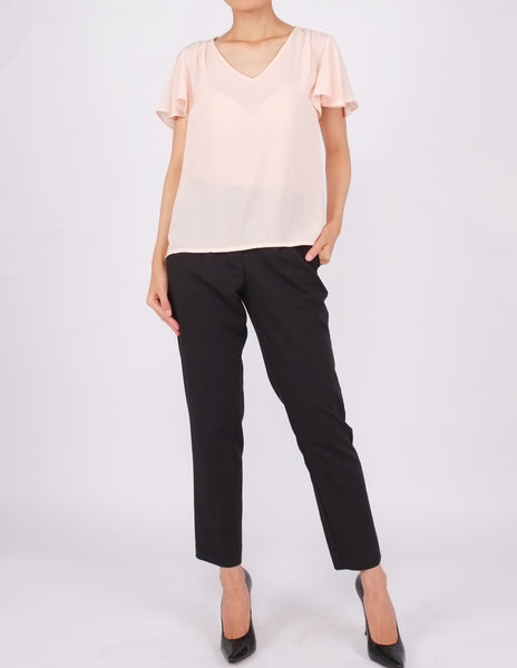 Amberly Wide Sleeves Top (Peach)
