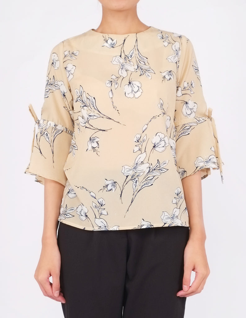 Bettina Flare Sleeves Top (Beige Floral)