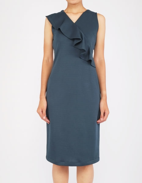 Erin Asymmetric Flounce Dress (Bottle Green)