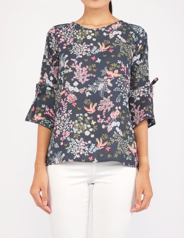 Bettina Flare Sleeves Top (Green Floral)