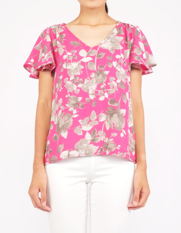 Amberly Wide Sleeves Top (Pink Floral)