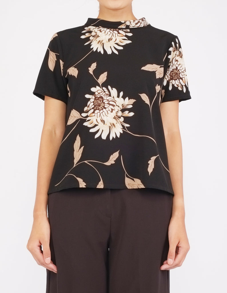 Becca Mock Neck Top (Black Floral)