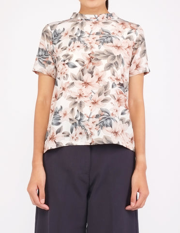Becca Mock Neck Top (White Floral)
