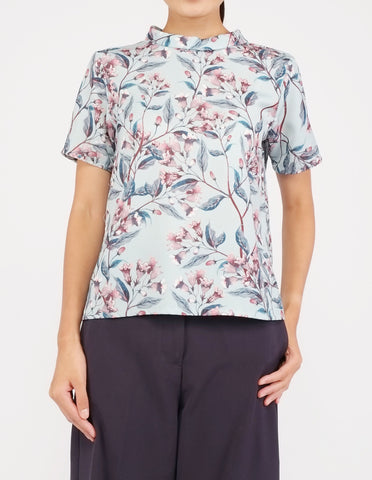 Becca Mock Neck Top (Mint Floral)