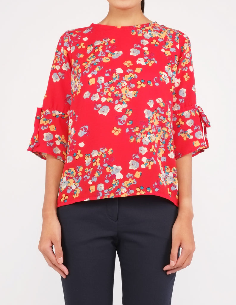 Bettina Flare Sleeves Top (Red Floral)
