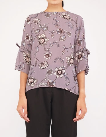 Bettina Flare Sleeves Top (Grey Floral)