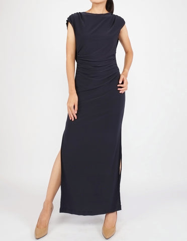 Eliana Cowl Back Maxi Dress (Navy)