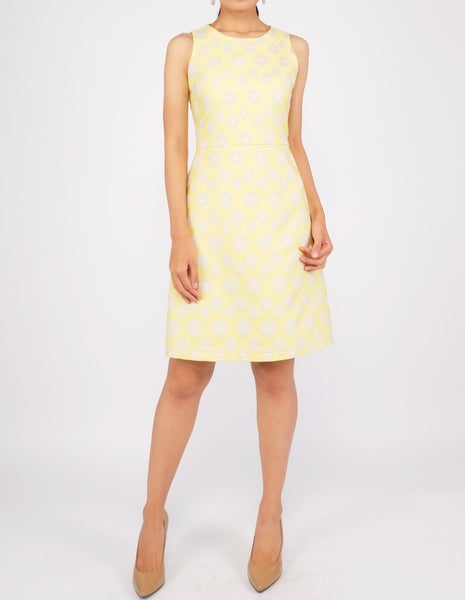 Dara Fit-and-Flare Dress (Yellow Floral)