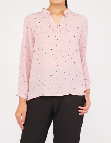 Brenna Split Neckline Top (Pink Pattern)