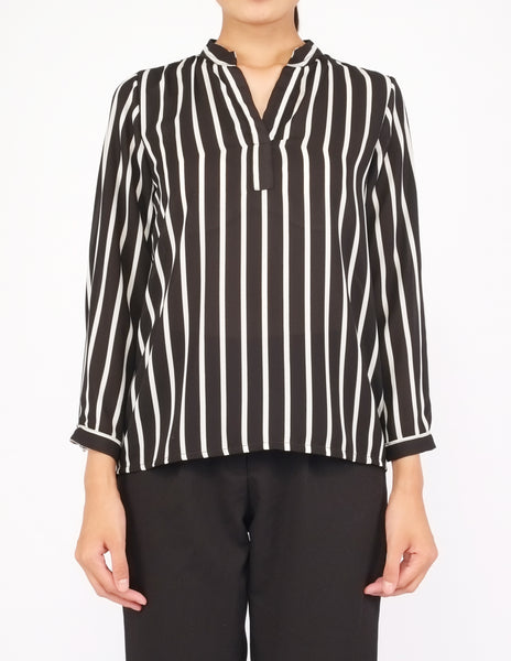 Brenna Split Neckline Top (Black Striped)