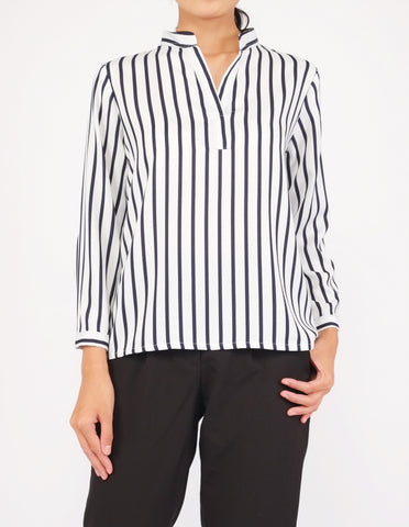 Brenna Split Neckline Top (White Striped)