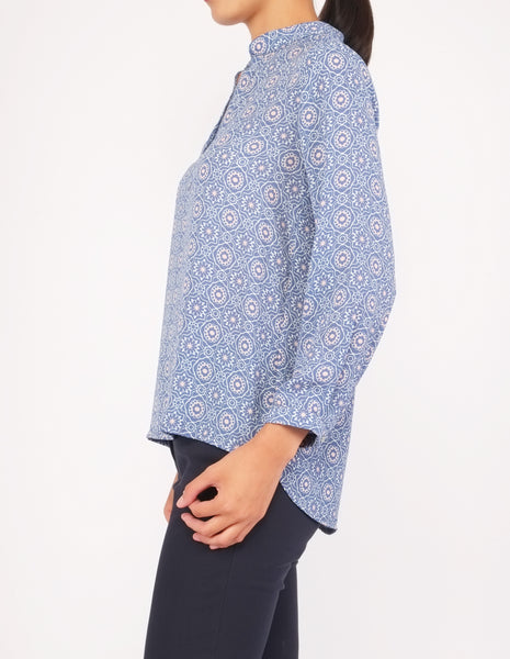 Brenna Split Neckline Top (Blue Pattern)