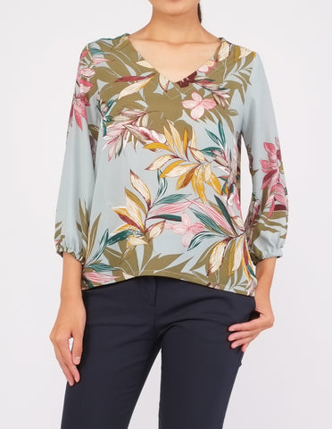 Bristol V-Neck Top (Green Floral)