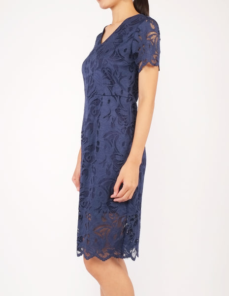 Elina Lace Sheath Dress (Navy)