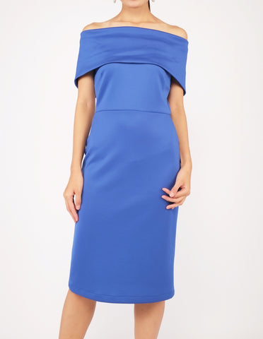 Evita Off-Shoulder Midi Dress (Royal Blue)