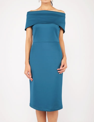 Evita Off-Shoulder Midi Dress (Teal)