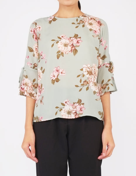 Bettina Flare Sleeves Top (Light Green Floral)
