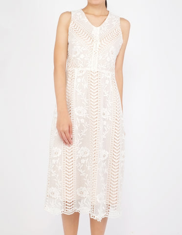 Ekko Lace Midi Dress (White)