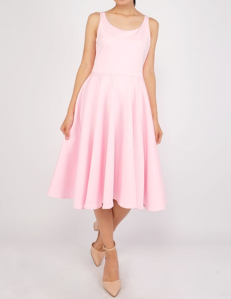 Heily Scoopneck Circle Dress (Blush Pink)