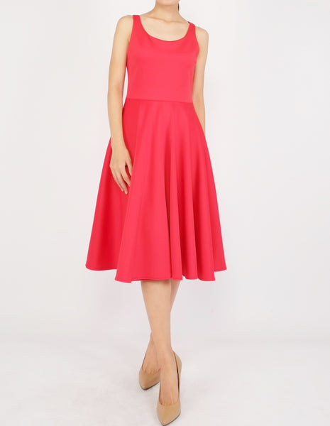 Heily Scoopneck Circle Dress (Red)