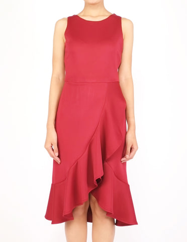 Hedy Wrap Skirt Dress (Maroon)