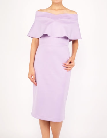 Ember Flounce Off-Shoulder Dress (Lavender)