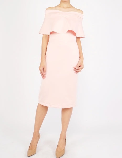 Ember Flounce Off-Shoulder Dress (Peach)