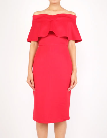 Ember Flounce Off-Shoulder Dress (Red)