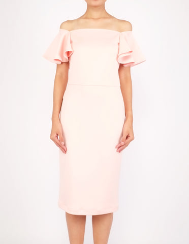 Eris Flounce Sleeves Midi Dress (Peach)