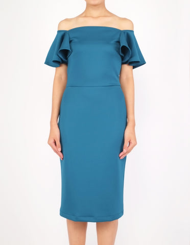 Eris Flounce Sleeves Midi Dress (Teal)