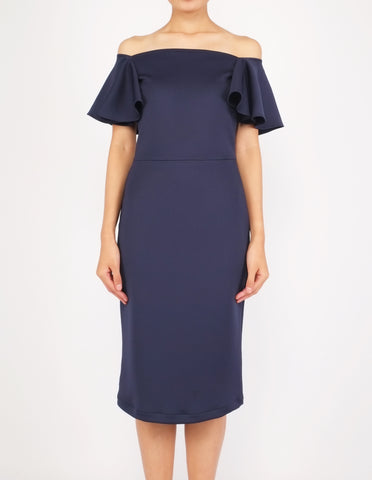 Eris Flounce Sleeves Midi Dress (Navy)