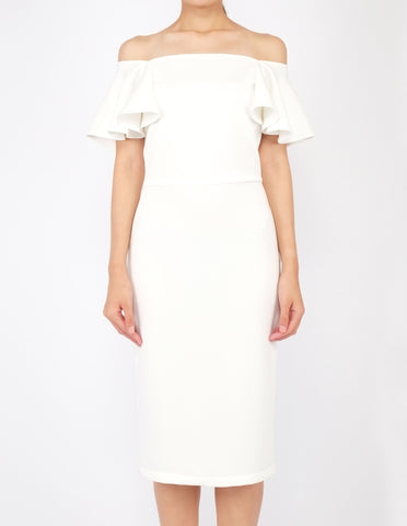 Eris Flounce Sleeves Midi Dress (Ivory)