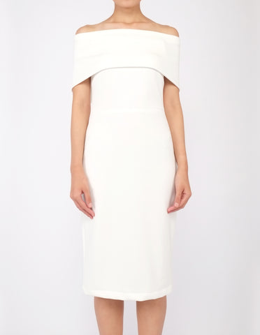 Evita Off-Shoulder Bodycon Dress (Ivory)